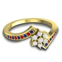 Simple Floral Pave Utpala Diamond Ring with Blue Sapphire and Ruby in 18k Yellow Gold