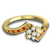 Simple Floral Pave Utpala Diamond Ring with Citrine and Ruby in 18k Yellow Gold