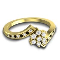 Simple Floral Pave Utpala Diamond Ring with Black Onyx in 14k Yellow Gold