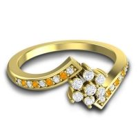 Simple Floral Pave Utpala Diamond Ring with Citrine in 18k Yellow Gold