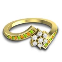 Simple Floral Pave Utpala Diamond Ring with Peridot and Citrine in 14k Yellow Gold