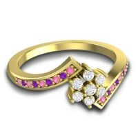 Simple Floral Pave Utpala Diamond Ring with Pink Tourmaline and Amethyst in 18k Yellow Gold
