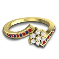 Simple Floral Pave Utpala Diamond Ring with Ruby and Blue Sapphire in 14k Yellow Gold