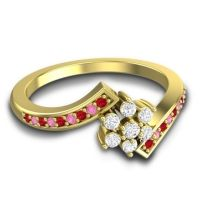 Simple Floral Pave Utpala Diamond Ring with Ruby and Pink Tourmaline in 14k Yellow Gold