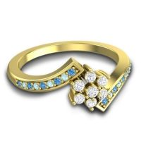 Diamond Simple Floral Pave Utpala Ring with Swiss Blue Topaz and Aquamarine in 18k Yellow Gold