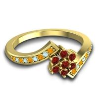 Simple Floral Pave Utpala Garnet Ring with Citrine and Aquamarine in 18k Yellow Gold
