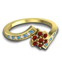 Simple Floral Pave Utpala Garnet Ring with Swiss Blue Topaz and Diamond in 18k Yellow Gold
