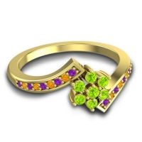 Simple Floral Pave Utpala Peridot Ring with Amethyst and Citrine in 18k Yellow Gold