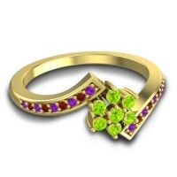 Simple Floral Pave Utpala Peridot Ring with Amethyst and Garnet in 18k Yellow Gold