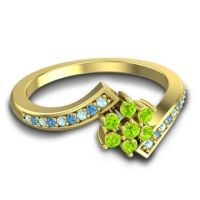 Simple Floral Pave Utpala Peridot Ring with Aquamarine and Swiss Blue Topaz in 14k Yellow Gold