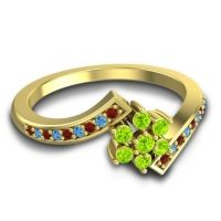 Simple Floral Pave Utpala Peridot Ring with Garnet and Swiss Blue Topaz in 18k Yellow Gold