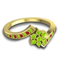 Simple Floral Pave Utpala Peridot Ring with Ruby in 14k Yellow Gold