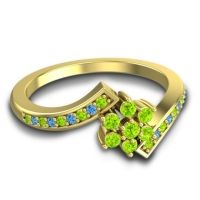 Simple Floral Pave Utpala Peridot Ring with Swiss Blue Topaz in 18k Yellow Gold