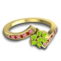 Simple Floral Pave Utpala Peridot Ring with Pink Tourmaline and Ruby in 18k Yellow Gold