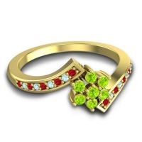 Simple Floral Pave Utpala Peridot Ring with Ruby and Aquamarine in 14k Yellow Gold