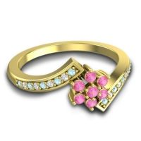 Simple Floral Pave Utpala Pink Tourmaline Ring with Aquamarine and Diamond in 14k Yellow Gold