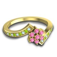 Simple Floral Pave Utpala Pink Tourmaline Ring with Aquamarine and Peridot in 18k Yellow Gold