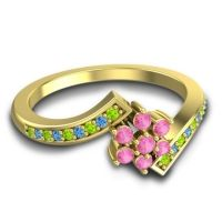Simple Floral Pave Utpala Pink Tourmaline Ring with Peridot and Swiss Blue Topaz in 14k Yellow Gold