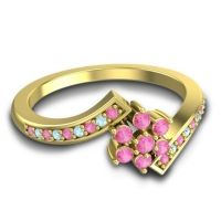 Simple Floral Pave Utpala Pink Tourmaline Ring with Aquamarine in 18k Yellow Gold