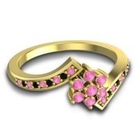Simple Floral Pave Utpala Pink Tourmaline Ring with Black Onyx in 18k Yellow Gold