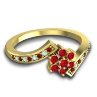 Simple Floral Pave Utpala Ruby Ring with Garnet and Aquamarine in 14k Yellow Gold
