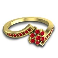 Simple Floral Pave Utpala Ruby Ring with Garnet in 14k Yellow Gold