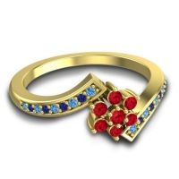Simple Floral Pave Utpala Ruby Ring with Swiss Blue Topaz and Blue Sapphire in 14k Yellow Gold