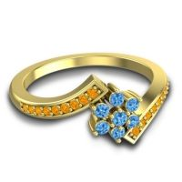 Simple Floral Pave Utpala Swiss Blue Topaz Ring with Citrine in 14k Yellow Gold
