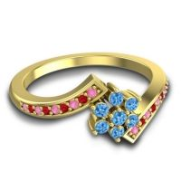 Simple Floral Pave Utpala Swiss Blue Topaz Ring with Pink Tourmaline and Ruby in 18k Yellow Gold