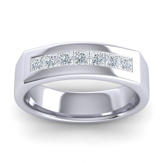 Polished Azatha Men's Diamond Band in 14k White Gold