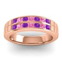 Amethyst Polished Agkita Band with Pink Tourmaline in 14K Rose Gold