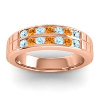Aquamarine Polished Agkita Band with Citrine in 18K Rose Gold