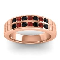 Black Onyx Polished Agkita Band with Garnet in 14K Rose Gold