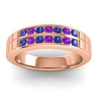 Blue Sapphire Polished Agkita Band with Amethyst in 18K Rose Gold