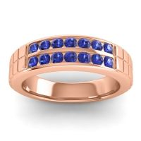 Blue Sapphire Polished Agkita Band in 18K Rose Gold