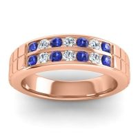 Blue Sapphire Polished Agkita Band with Diamond in 14K Rose Gold