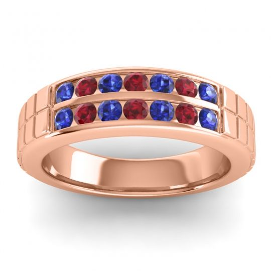Blue Sapphire Polished Agkita Band with Ruby in 14K Rose Gold