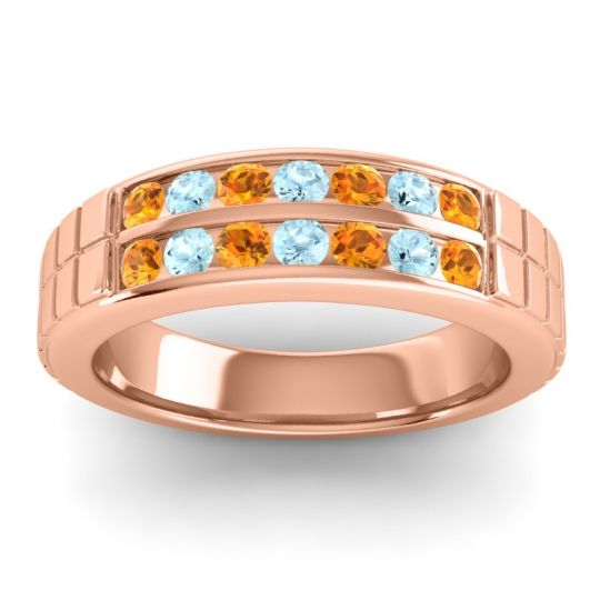 Citrine Polished Agkita Band with Aquamarine in 18K Rose Gold
