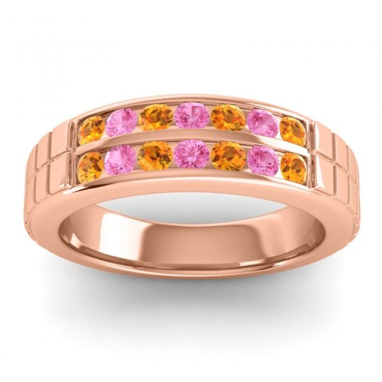 Citrine Polished Agkita Band with Pink Tourmaline in 14K Rose Gold