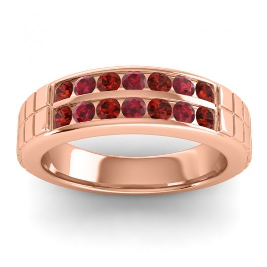 Garnet Polished Agkita Band with Ruby in 18K Rose Gold