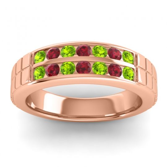 Peridot Polished Agkita Band with Ruby in 14K Rose Gold
