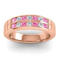 Pink Tourmaline Polished Agkita Band with Diamond in 18K Rose Gold