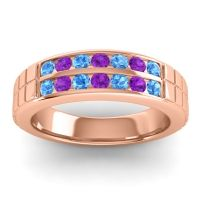 Polished Agkita Men's Swiss Blue Topaz Band with Amethyst in 18K Rose Gold