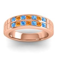 Swiss Blue Topaz Polished Agkita Band with Citrine in 14K Rose Gold