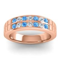 Polished Agkita Men's Swiss Blue Topaz Band with Diamond in 18K Rose Gold