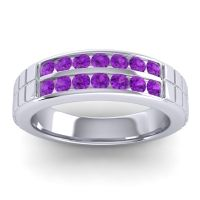 Amethyst Polished Agkita Band in 14k White Gold