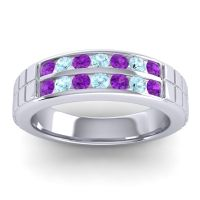 Amethyst Polished Agkita Band with Aquamarine in 18k White Gold