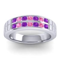 Amethyst Polished Agkita Band with Pink Tourmaline in Palladium