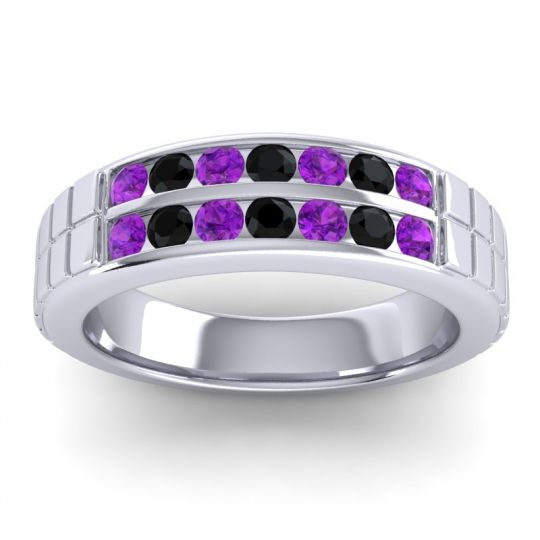 Amethyst Polished Agkita Band with Black Onyx in 14k White Gold
