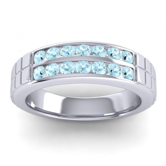 Aquamarine Polished Agkita Band in Platinum